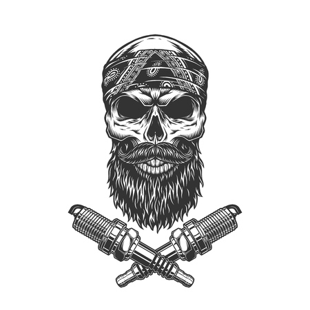 Vintage bearded and mustached biker skull with crossed spark plugs isolated vector illustration