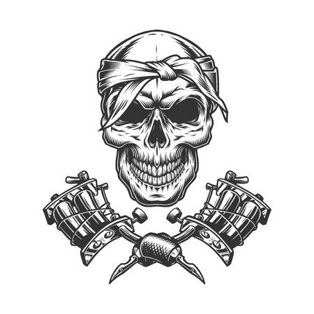 Vintage monochrome skull in bandana with crossed tattoo machines isolated vector illustration