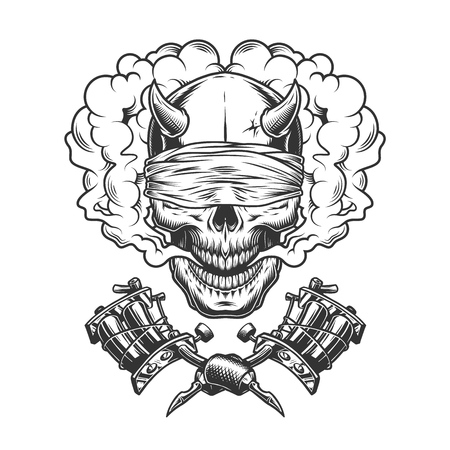 Vintage monochrome demon skull with blindfold in smoke cloud and crossed tattoo machines isolated vector illustration Ilustração