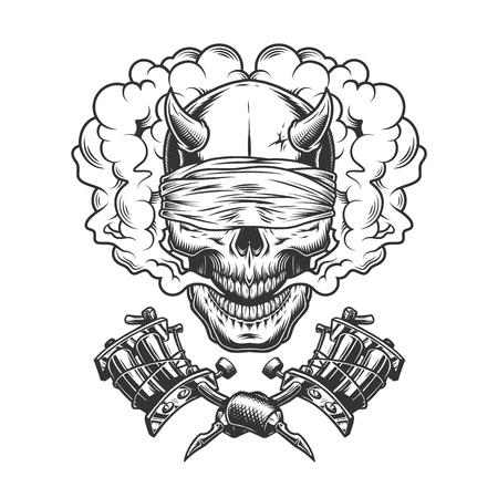 Vintage zwart-wit demon schedel met blinddoek in rook wolk en gekruiste tattoo machines geïsoleerde vectorillustratie Vector Illustratie