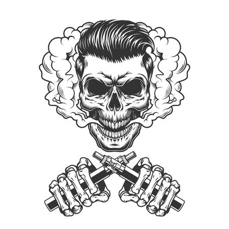 Concetto di vaping monocromatico vintage con teschio hipster in nuvola di fumo e mani scheletriche che tengono i vaporizzatori isolati illustrazione vettoriale