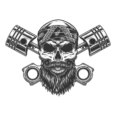 Bearded and mustached biker skull in bandana with crossed engine pistons in vintage monochrome style isolated vector illustration
