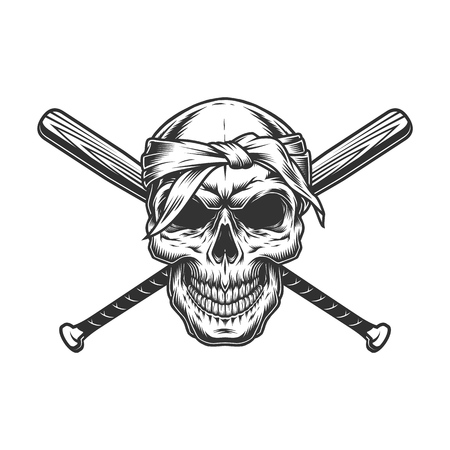 Gangster skull in bandana with crossed baseball bats in vintage monochrome style isolated vector illustration