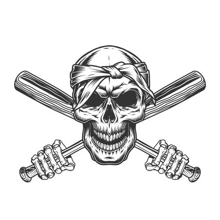 Vintage monochrome skull in bandana with skeleton hands holding crossed baseball bats isolated vector illustration