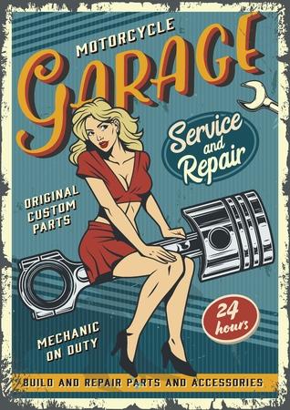 Retro-Garage-Service-buntes Poster mit Pin-up-Blondine, die auf Motorkolben in Vintage-Stil-Vektorillustration sitzt