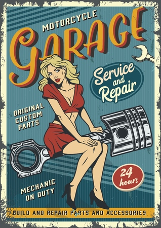Retro garage service colorful poster with pin up blonde woman sitting on engine piston in vintage style vector illustration