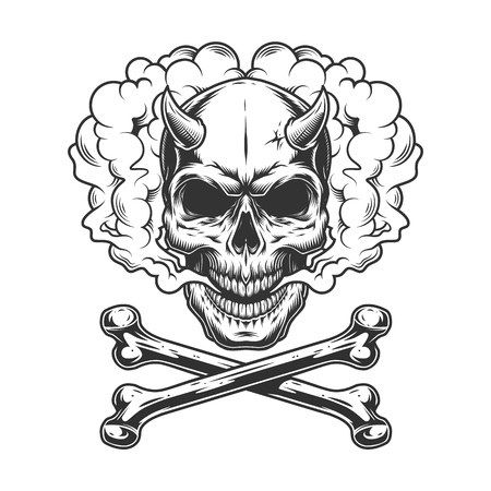 VIntage monochrome vaping concept with demon skull in smoke cloud and crossbones isolated vector illustration 版權商用圖片 - 116383747