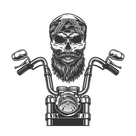 Cráneo de motociclista monocromo vintage en pañuelo con ilustración de vector aislado de vista frontal de motocicleta