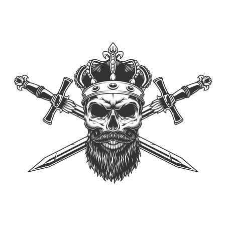 Bearded and mustached skull in crown with crossed swords in vintage monochrome style isolated vector illustration