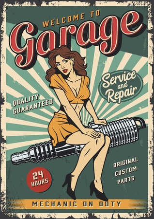 Vintage garage repair service colorful poster with pin up girl sitting on engine spark plug vector illustration Illustration