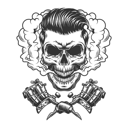 Monochrome hipster skull in smoke cloud with crossed tattoo machines in vintage style isolated vector illustration