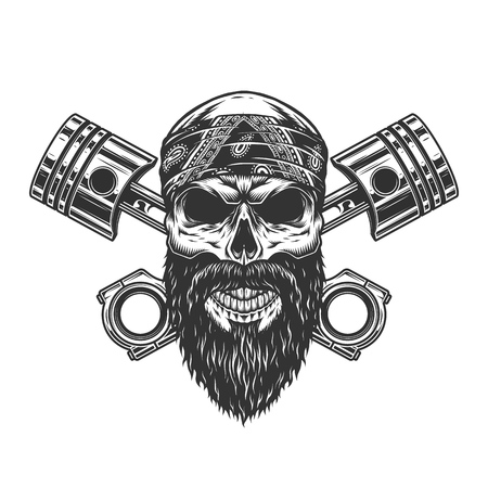 Vintage severe biker skull in bandana with crossed engine pistons isolated vector illustration