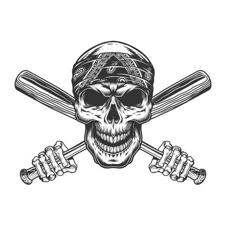 Bandit skull in bandana and skeleton hands holding crossed baseball bats in vintage monochrome style isolated vector illustration
