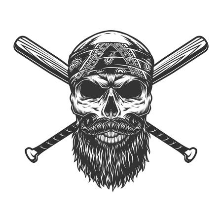 Cráneo de bandido barbudo y bigote vintage con bates de béisbol cruzados aislados ilustración vectorial