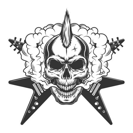 Cráneo de músico de rock vintage con mohawk y guitarras eléctricas cruzadas en la ilustración de vector aislado nube de humo