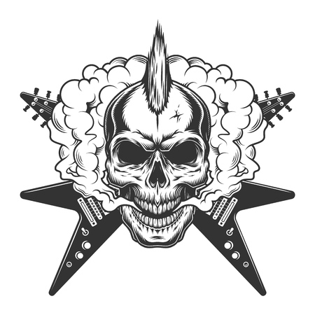 Vintage rock musician skull with mohawk and crossed electric guitars in smoke cloud isolated vector illustration Illustration