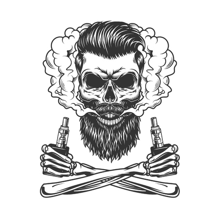 Bearded and mustached hipster skull in smoke cloud with crossed skeleton hands holding vaporizers in vintage monochrome style isolated vector illustration