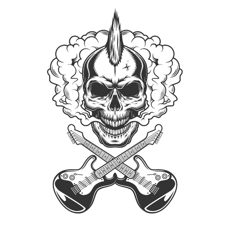 Rocker skull with mohawk in smoke cloud with crossed electric guitars in vintage monochrome style isolated vector illustration