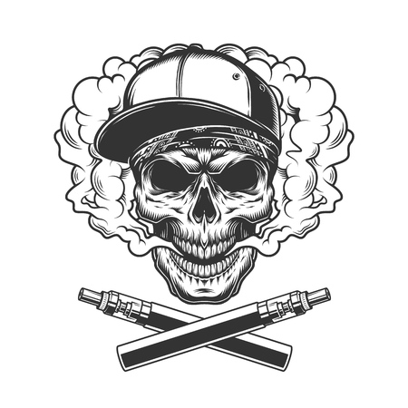 Monochrome hipster skull in smoke cloud with crossed vaporizers in vintage style isolated vector illustration