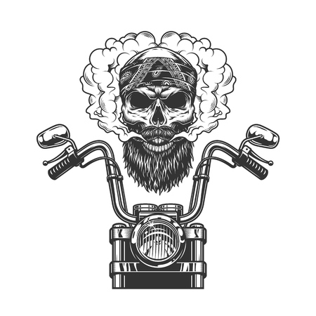 Bearded and mustached biker skull in bandana with motorcycle front view in vintage monochrome style isolated vector illustration