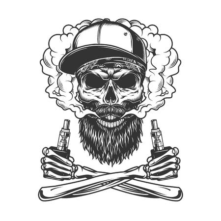 Crâne de hipster barbu et moustachu portant une casquette de baseball dans un nuage de fumée avec des mains squelettes croisées tenant des vaporisateurs dans une illustration vectorielle isolée de style vintage