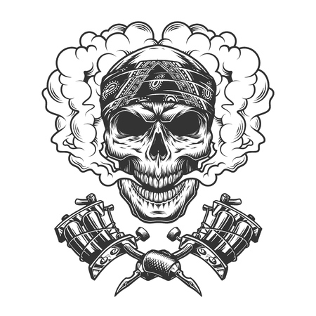 Vintage tattoo master skull in cloud with crossed tattoo machines in monochrome style isolated vector illustration
