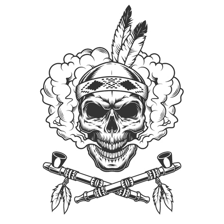 Vintage indian warrior skull with feathers in smoke cloud and crossed smoking pipes isolated vector illustration