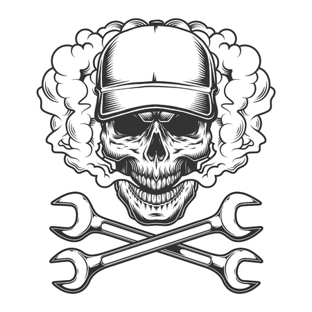 Vintage monochrome skull wearing baseball cap in smoke cloud with crossed wrenches isolated vector illustration