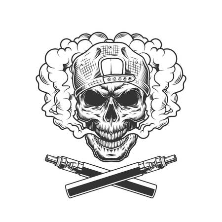 VIntage hipster skull wearing cap in smoke cloud with crossed vaporizers isolated vector illustration