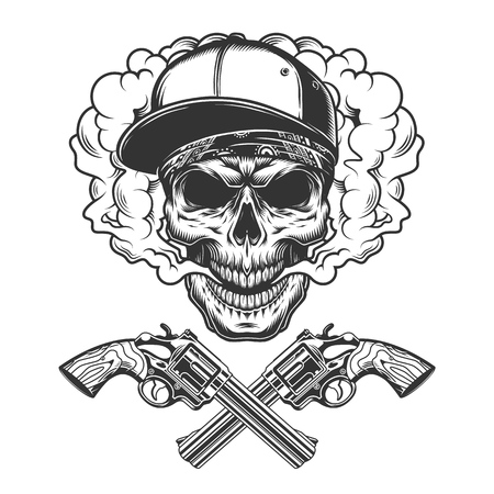Vintage monochrome bandit skull wearing baseball cap and bandana in smoke cloud with crossed revolvers isolated vector illustration