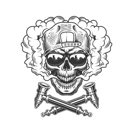 Vintage hipster skull in smoke cloud wearing cap and sunglasses with crossed smoking pipes isolated vector illustration