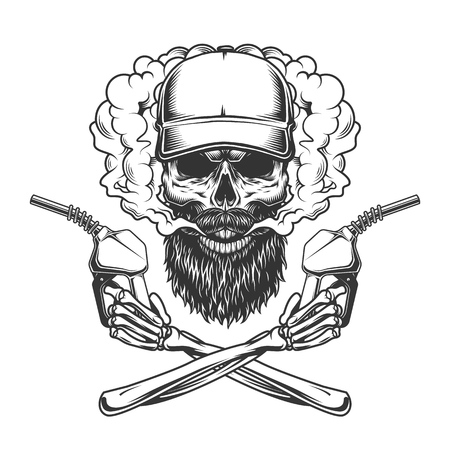 Bearded and mustached trucker skull in smoke cloud and crossed skeleton hands holding pump nozzles in vintage monochrome style isolated vector illustration