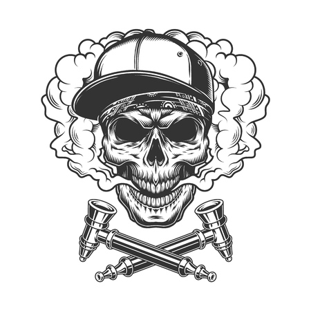 Skull wearing baseball cap and bandana in smoke cloud with crossed smoking pipes in vintage monochrome style isolated vector illustration
