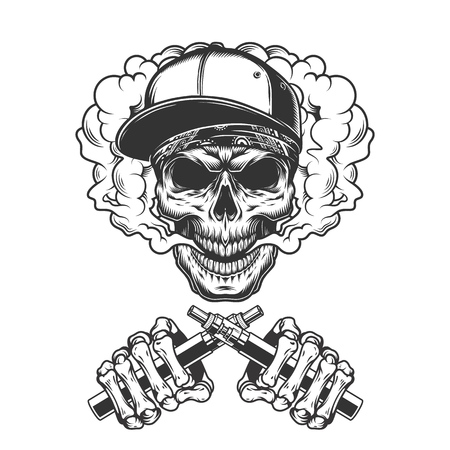 Vintage hipster skull in smoke cloud with crossed skeleton hands holding electronic cigarettes isolated vector illustration Foto de archivo - 116383820