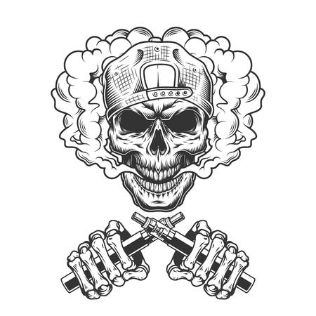 Cranio vintage hipster monocromatico in berretto in nuvola di fumo e mani di scheletro incrociate che tengono sigarette elettroniche illustrazione vettoriale isolato