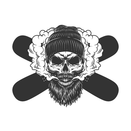 Vintage monochrome bearded and mustached skull wearing beanie hat in smoke cloud with crossed snowboards isolated vector illustration