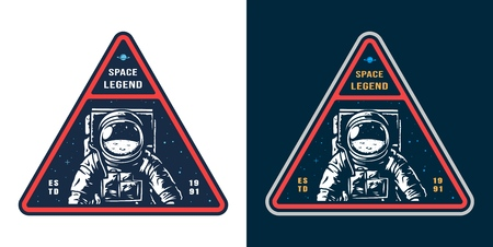 Colorful space label with astronaut in spacesuit in vintage style isolated vector illustration Ilustrace