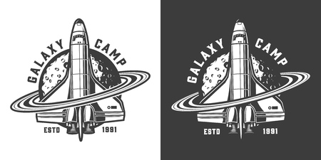 Vintage monochrome space badge with saturn rings around shuttle and moon isolated vector illustration Vector Illustration