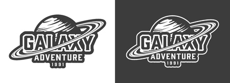 Vintage monochrome space label with saturn planet and inscription isolated vector illustration