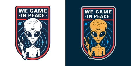 Vintage space colorful badge with extraterrestrial showing peace sign isolated vector illustration Stock Illustratie