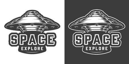 Alien spaceship monochrome emblem in vintage style isolated vector illustration Stock Vector - 116383857