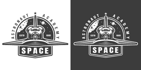 Vintage monochrome Weltraum-Etikett mit Shuttle-Vorderansicht isolierte Vektor-Illustration