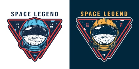Vintage galaxy colorful label with moon surface and space stars in cosmonaut helmet isolated vector illustration Illustration