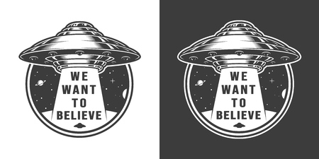 Vintage space round label with ufo in vintage style isolated vector illustration