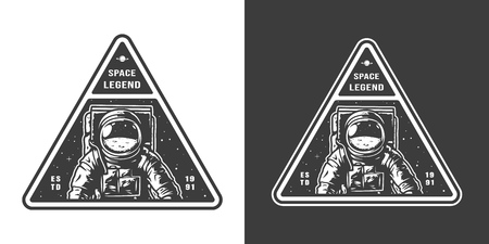 Vintage monochrome space print with astronaut in spacesuit isolated vector illustration