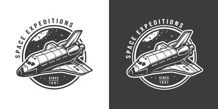 Vintage monochrome space emblem with shuttle isolated vector illustration Illustration