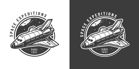Vintage monochrome space emblem with shuttle isolated vector illustration Çizim