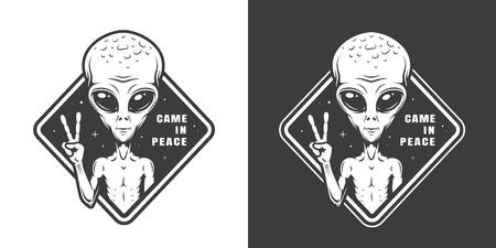 Etiqueta de espacio monocromo vintage con alien mostrando el signo de la paz aislado ilustración vectorial