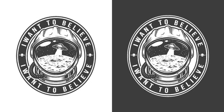 Vintage monochrome space round label with moon surface and ufo in astronaut helmet isolated vector illustration
