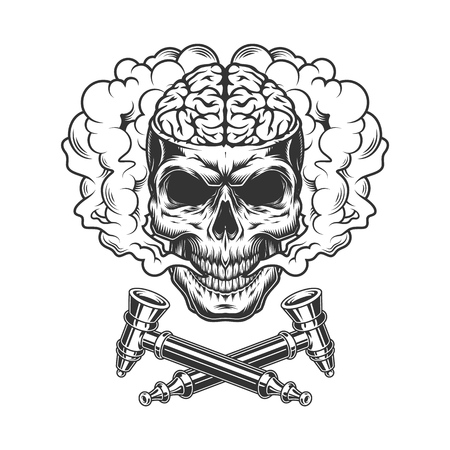 Vintage skull with human brain in smoke cloud with crossed smoking pipes isolated vector illustration